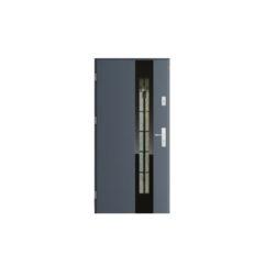 Drzwi zewnętrzne metalowe z drewnianą futryną – Mikea – Lanza T6